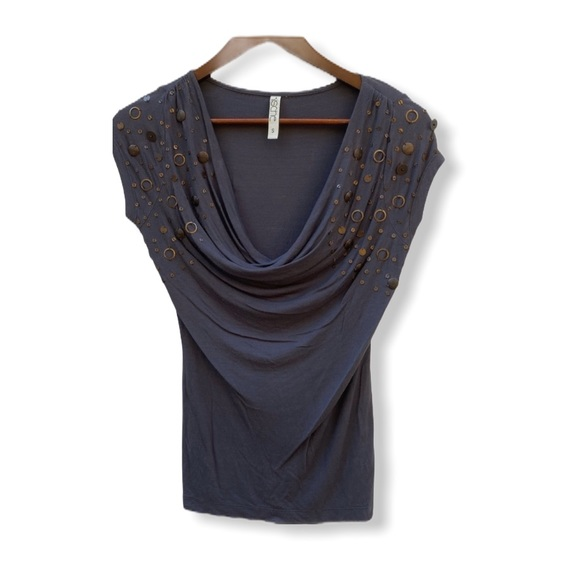 Kische Top With Brass Embellishments Gray